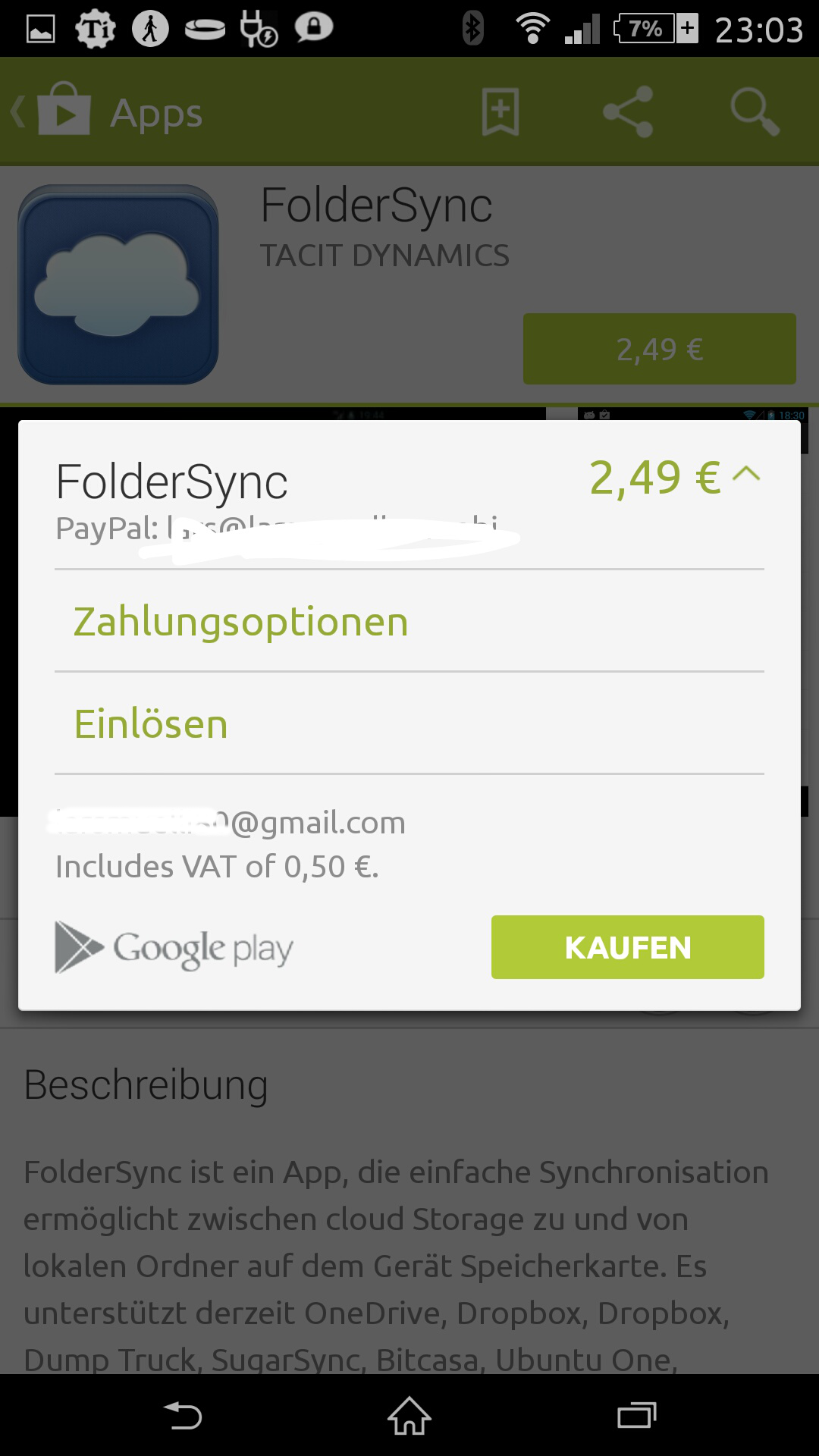 Fehler 403 Android