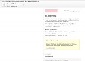 gefälschte Paypal Mail