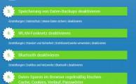 Infografik mit den 10 besten Einstellungen für mehr Datenschutz(zum vergrößern anklicken)